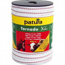Patura tornado xl lint 12,5mm wit/rood 200m of 400m